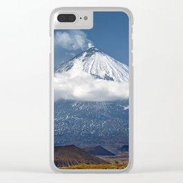 Klyuchevskoy Volcano or Klyuchevskaya Sopka on Kamchatka - highest active volcano of Eurasia Clear iPhone Case