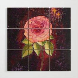 Pink rose Wood Wall Art