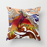 phoenix Throw Pillows featuring Phoenix by Peter Fulop