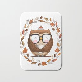 Fall Ready Owl- Illustration Bath Mat