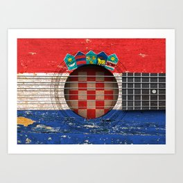 Old Vintage Acoustic Guitar with Croatian Flag Art Print