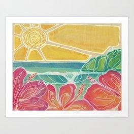 Triple Hibiscus Surf Art by Lauren Tannehill Art Art Print
