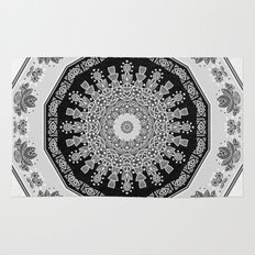Shades of Grey - Geometric Floral Pattern Rug