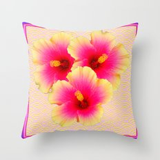 Purple-Pink-Yellow Exotic Hibiscus Flowers Asian Pattern Art Throw Pillow