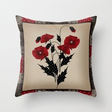 Flowers Art Poppies. Patchwork Throw Pillow