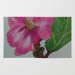 Japanese camellia, camellia, botanical art, flower, pink flower, Rug