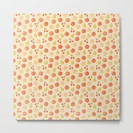 Fruits Pixel Art Pattern | Apple Pear Orange Cherry Peach Metal Print