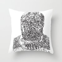 hemingway Throw Pillows featuring Hemingway by The New Minimalist