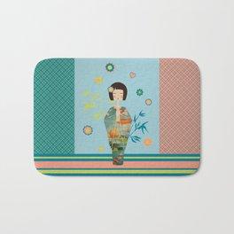 Kokeshi Geisha Japan Green Bath Mat
