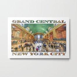 Grand Central Rush (souvenir poster on white) Metal Print