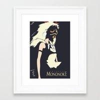 princess mononoke Framed Art Prints featuring Princess Mononoke by Studio Momo╰༼ ಠ益ಠ ༽