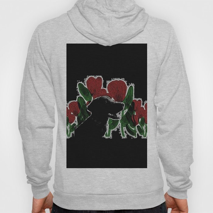 Black Lab In A Flower Garden Hoody