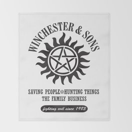 SUPERNATURAL WINCHESTER AND SONS Throw Blanket