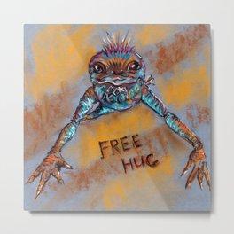 Frog offers free hugs. Drawing by pastels. Metal Print