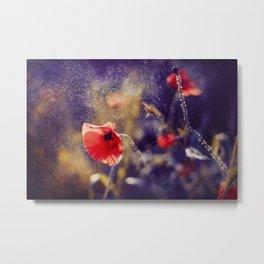 Red Poppy On Violet Metal Print