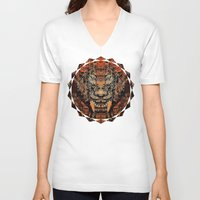 tooth V-neck T-shirts featuring Saber Tooth by Zandonai