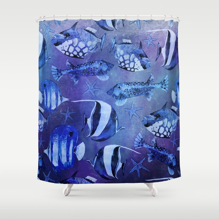 Watercolor fish pattern dark blue Shower Curtain by lebensart | Society6