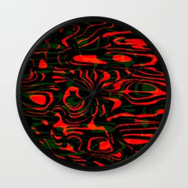Magical smudges of mysterious infinity from red lines and green horizontal cycle. Wall Clock