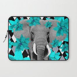 ELEPHANT and HARLEQUIN BLUE AND GRAY Laptop Sleeve