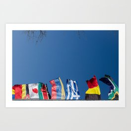 All flags blue sky Art Print