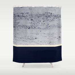 Navy Blue Pale Yellow on Navy Blue Concrete #1 #decor #art #society6 Shower Curtain