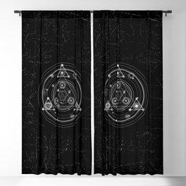 Sacred geometry black and white geometric art Blackout Curtain