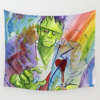 frankenstein Wall Tapestries featuring Friend Frankenstein by JoJo Seames