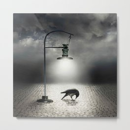 crow lonely in the street Metal Print