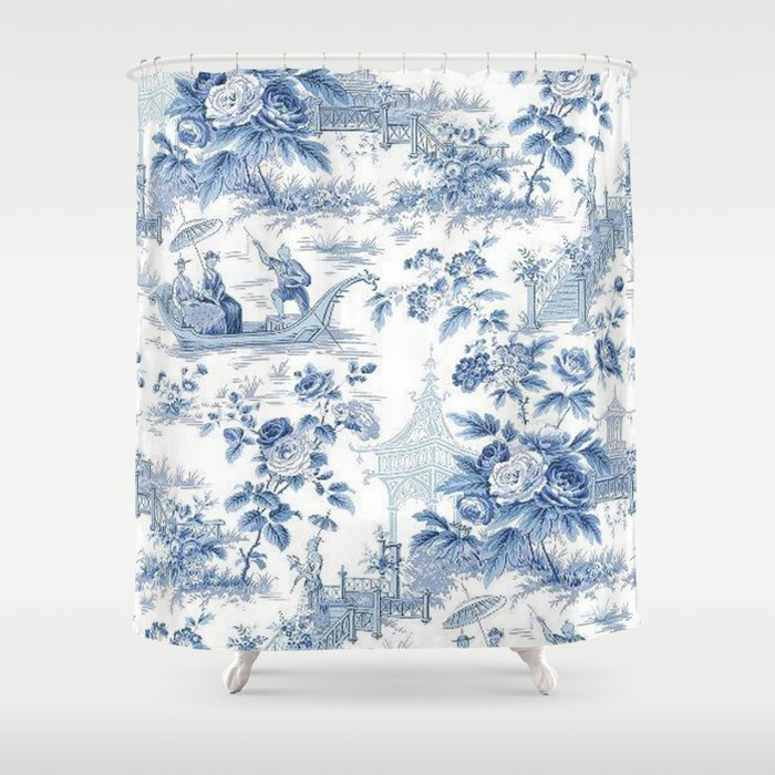 Powder Blue Chinoiserie Toile Shower Curtain By Thechinoiseriepavillion