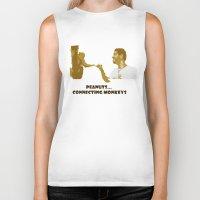 peanuts Biker Tanks featuring Peanuts connecting monkeys by Adiel Azrai