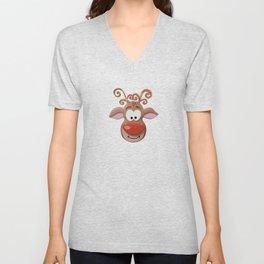 Rudolph the Red-Nosed Reindeer Pattern - White Unisex V-Neck