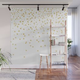 Falling hearts gold glitter confetti - Heart Love Valentine Wall Mural