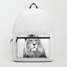 Black and white lion animal portrait Backpack