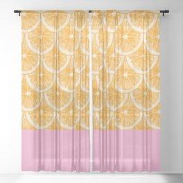 Zesty splice - orange Sheer Curtain