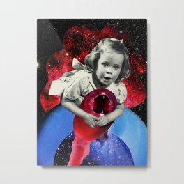 Baby Amy Riding into Space Metal Print