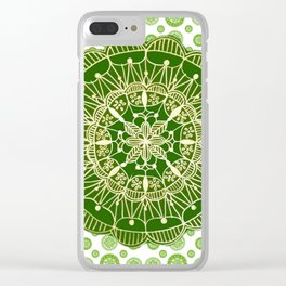 Emerald Green and Gold Mandala Overlay Textile Clear iPhone Case
