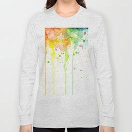 Watercolor Rainbow Splatters Abstract Texture Long Sleeve T-shirt