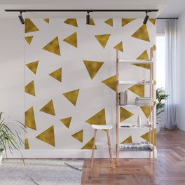 Soft Pink And Rustic Gold Triangles Wall Mural