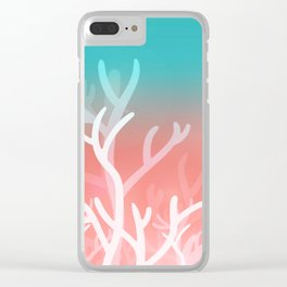 Living coral & Viridian green Clear iPhone Case