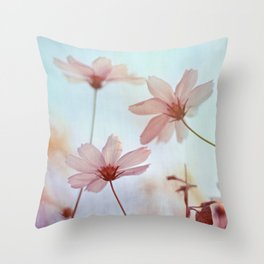 Cosmos Flowers Dancing in the Wind Throw Pillow