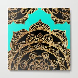 Gold Lace on Turquoise Metal Print
