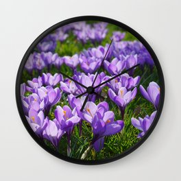 Purple Crocuses Wall Clock