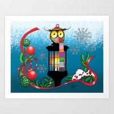 Christmas Lantern Owl Art Print