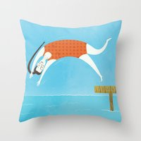 swim Throw Pillows featuring Swim by Sally Townsend