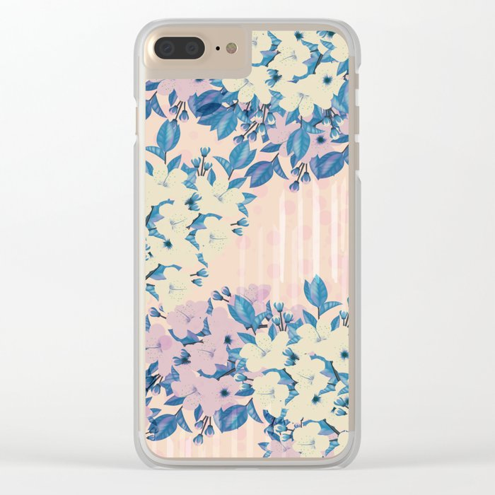 Pink Floral Clear iPhone Case