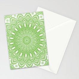 Light Lime Green Mandala Simple Minimal Minimalistic Stationery Cards