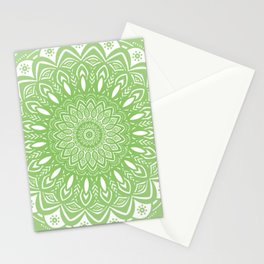 Light Lime Green Mandala Simple Minimal Minimalistic Stationery Cards
