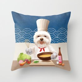 Dog Chef Cooks Soup for Friends Throw Pillow