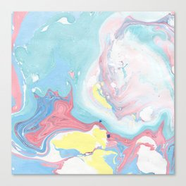 Abstract pastel pink blue teal yellow watercolor marble Canvas Print