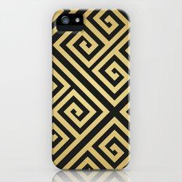 Black and gold high fashion Greek key pattern iPhone Case